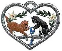 Small Heart Ornament with Kittens