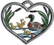 Small Heart Ornament with Ducks