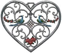 "WILHELM SCHWEIZER ""HEART WITH BIRDS"" WALL PLAQUE"
