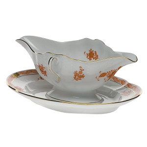 "Herend ""Chinese Bouquet"" Gravy Boat Rust"