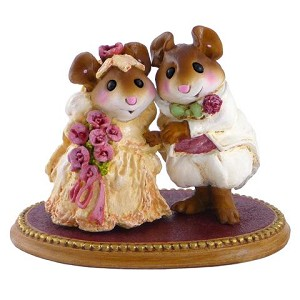"Wee Forest Folk ""The Wedding Pair"" Pink Flowers"