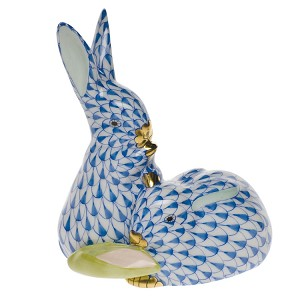 "Herend ""Pair of Rabbits with Corn"" Blue"