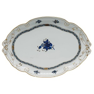"Herend ""Chinese Bouquet"" Ribbon Tray Black Sapphire"