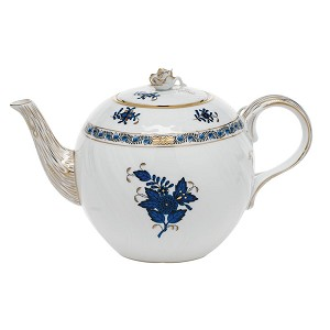 "Herend ""Chinese Bouquet"" Teapot Black Sapphire"