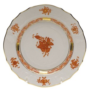 "Herend ""Chinese Bouquet"" Bread Plate Rust"