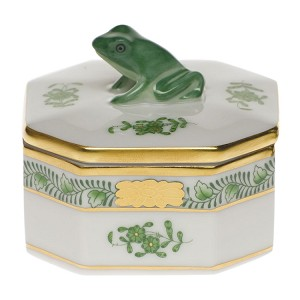"Herend ""Ocatgonal Frog Box"" Green"