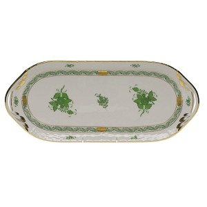 "Herend ""Chinese Bouquet"" Sandwich Tray Green"