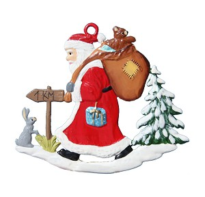 Santa in Forest Ornament