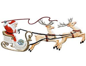 Santa in Sleigh with Two Reindeer Ornament