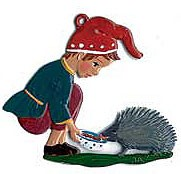 Elf with Hedgehog Ornament