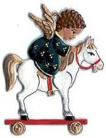 Angel on Toy Horse Ornament