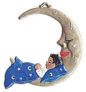 Angel Sleeping in Moon Ornament