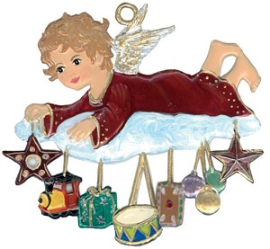 Angel with Gifts on Cloud Ornament