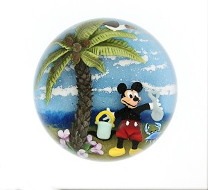 "CLINTON F SMITH ""MICKEY'S TROPICAL VACATION"" PAPERWEIGHT"