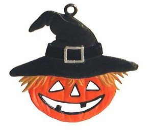 Pumpkin with Hat Ornament