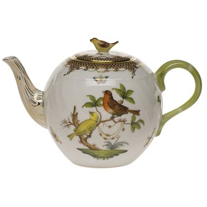 "Herend ""Rothschild Bird Border"" Teapot Brown"