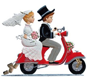 Young Love Bride & Groom on Scooter