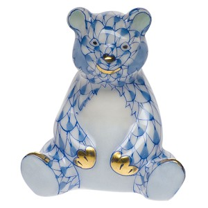 "Herend ""Miniature Sitting Bear"" Blue"