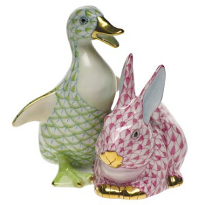 "Herend ""Duckling & Bunny"" Key Lime & Raspberry"