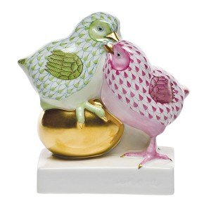 "Herend ""Pair of Chicks on Golden Egg"" Key Lime & Raspberry"