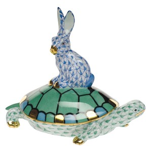 "Herend ""Tortoise & Hare"" Green & Blue"